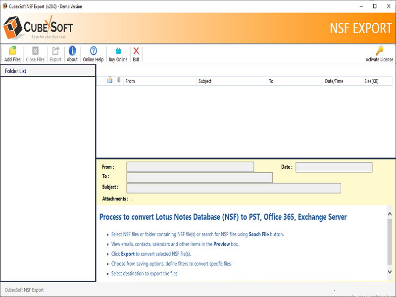 Lotus Notes Export Data Screenshot