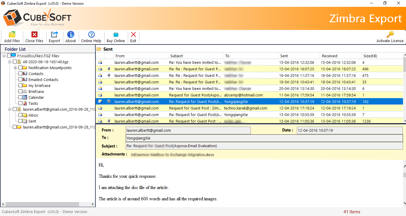 Screenshot of Zimbra Export Folder 1.0