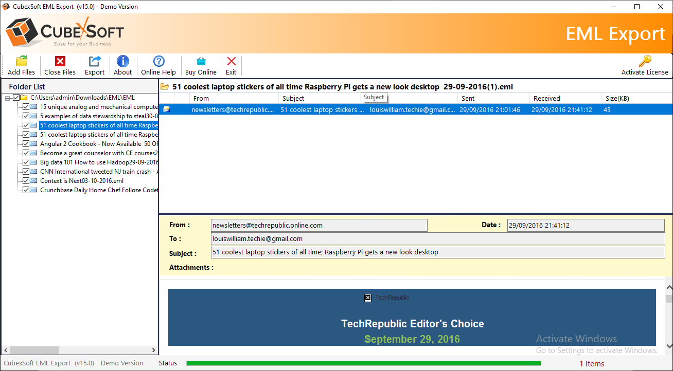 Windows Live Mail EML Export Screenshot