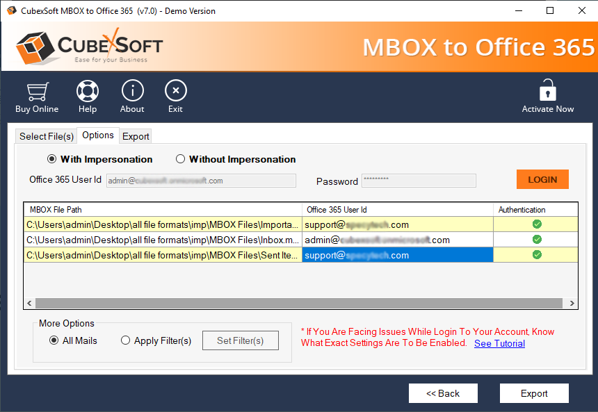 Import MBOX File to Office 365 Data