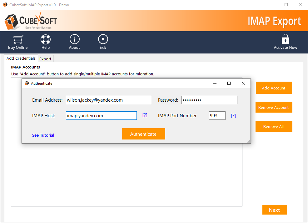 Export IMAP file to Office 365