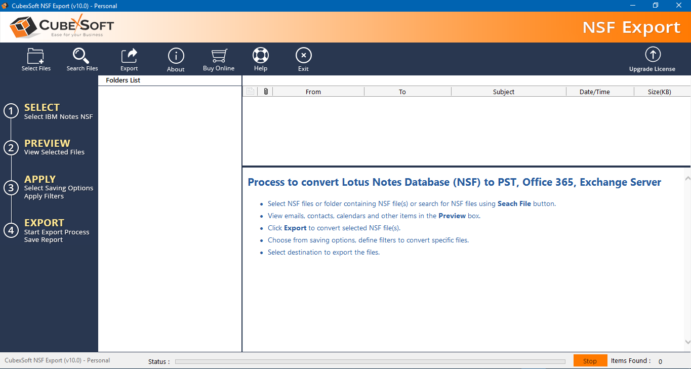 Lotus Notes Mail Convert Outlook Screenshot