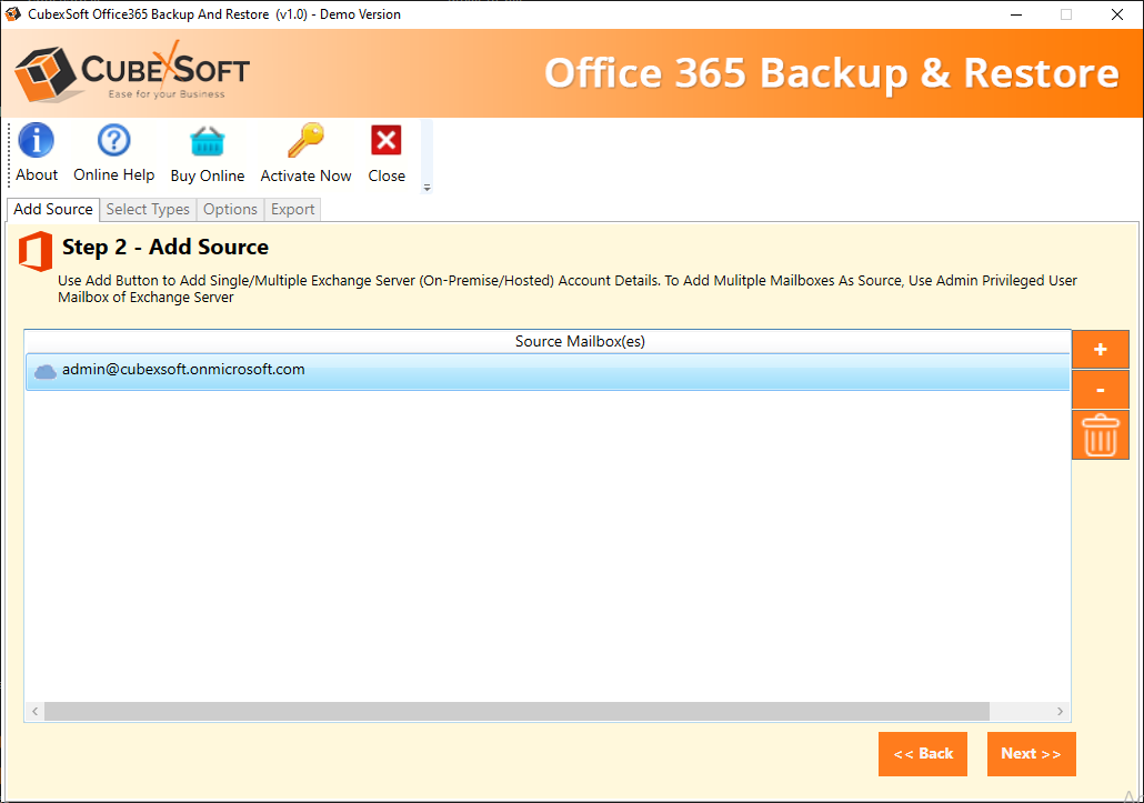 Office 365 Create Backup Screenshot