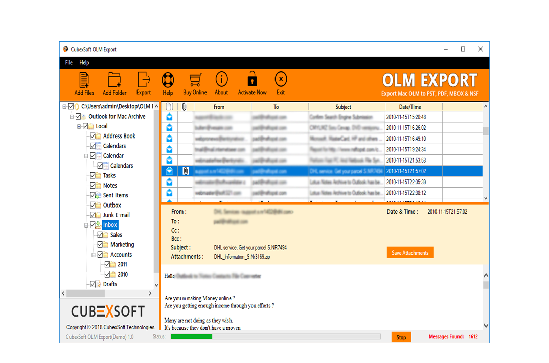 Outlook OLM File Import Screenshot