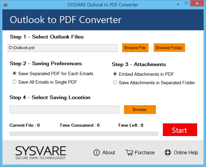 Outlook PST to PDF folder Screenshot