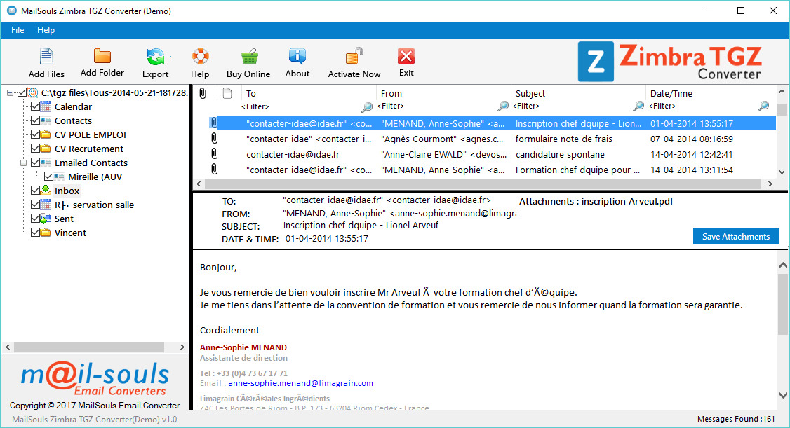 Export Emails from Zimbra Desktop Screenshot