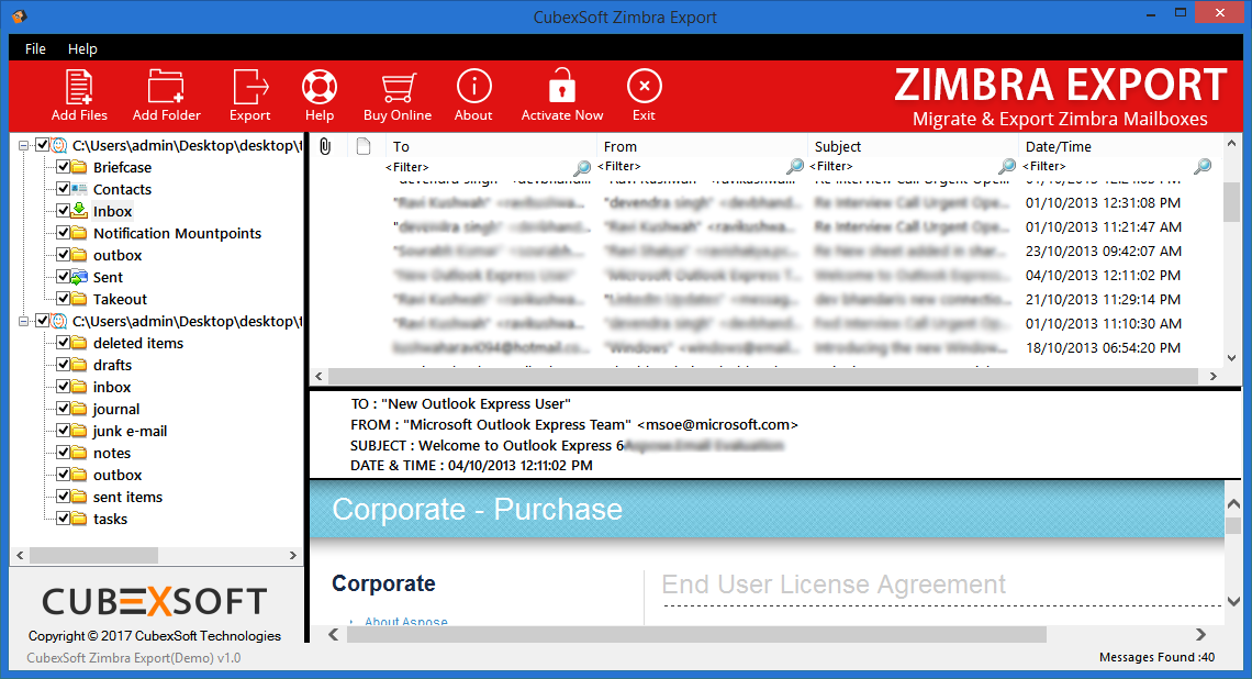 Export Email Account Zimbra Screenshot